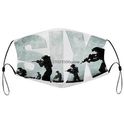Máscara de poeira com filtro masculino seis marinha seal equipe preto impressão boca máscara facial