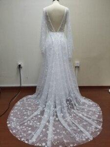 Image 5 - חוף חתונת שמלת 2020 מבריק כוכבים אונליין Boho כלה שמלה ללא משענת קיץ כלה שמלות