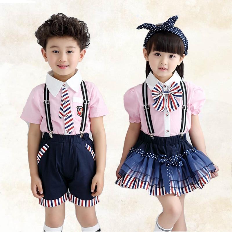 Children's School Uniform Summer New Style Primary School Class Service Boy And Girl Performance Clothing Kindergarten Set