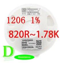 100 peças smd resistor rc série 1206 1% origina RC1206FR-07 séries 820r-1.78k todos os resistores 820r 910r 1k 1.1k 1.2k 1.3k 1.5k 1.6k k