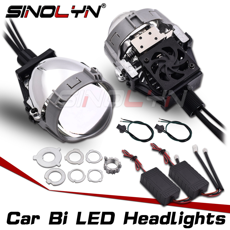 SINOLYN 2.5'' Bi-led Lens Projector Lenses In Headlights H7 H4 H1 9005 9006 LED Light Bulbs Car Accessories Retrofit Style DIY
