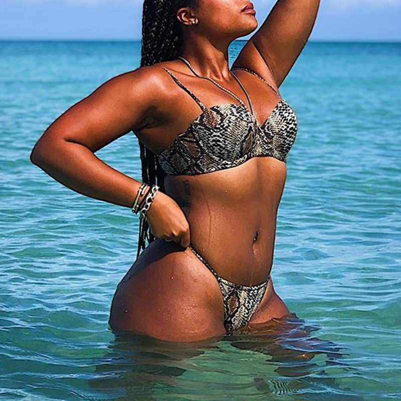 H0ceaf862637742e69f6d890464a0d47eP Snake print bikini Push up swimsuit female bathing suit String thong Brazilian bikini 2019 High cut swimwear women Sexy biquini