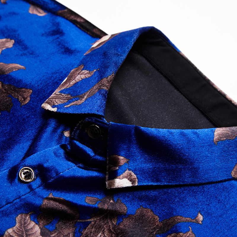 Nuovo Arrivo di Sesso Maschile di Velluto Camicia di Seta Camicia di Vestito Da Modo Floreale Stampato Uomo di Velluto Vestiti A Maniche Lunghe