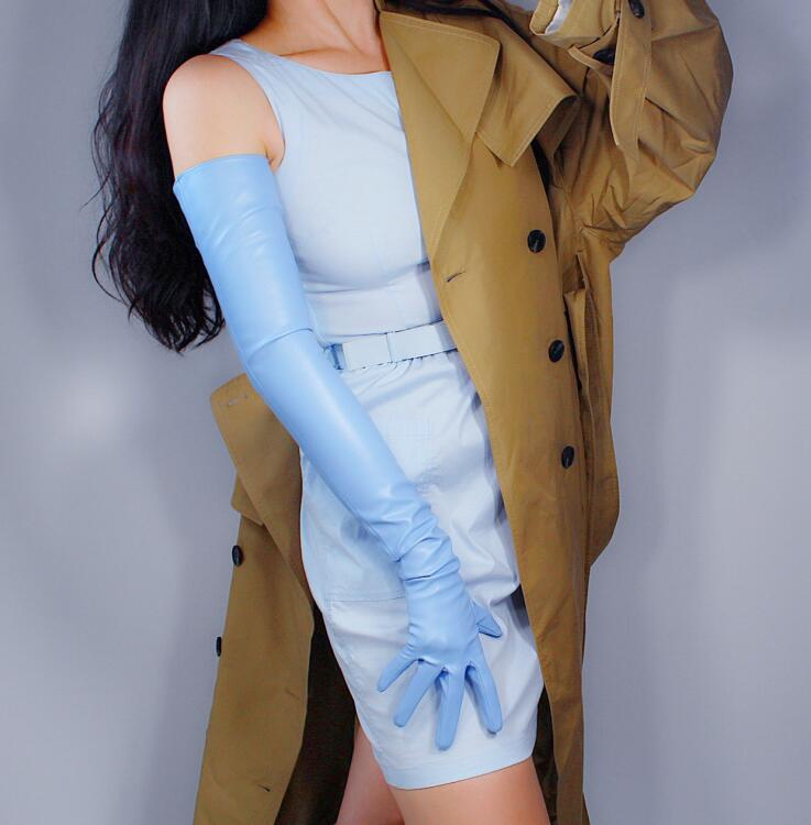 Women's Fashion Light Blue Sexy Slim Faux Pu Leather Glove Lady's Club Performance Formal Party Leather Long Glove 70cm R2220
