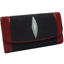 Clutch Purse Genuine-Leather Card-Holders Trifold Wallet Long Women's Real Stingray-Skin