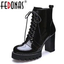 Fedonas新ファッション牛パテントレザー女性のアンクルブーツ女性秋の冬の革の靴女性プラットフォームレディースブーツ