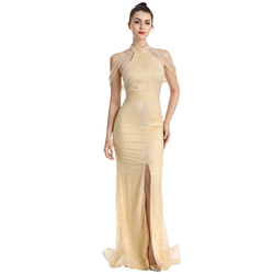 Sexy Backless Celebrity Dresses High Neck Beaded Front Split Luxurious Trumpt Robe De Beaded Sequins Evening Party Gowns ZD2001