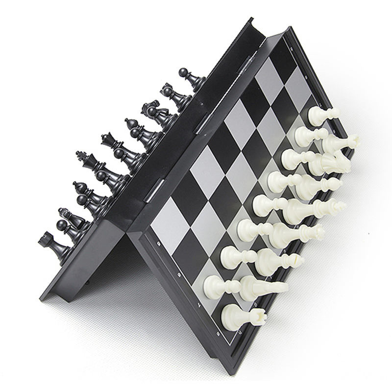 Foldable Magnetic Chess Board Set Outdoor Travel Chess Backgammon Toy Kids Intellectually Development Learn Chessmen Gift
