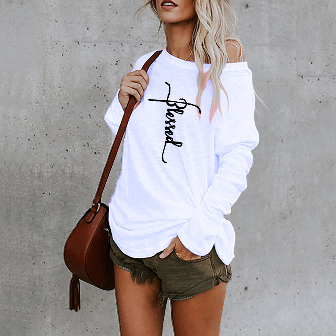 White T shirt Women Fashion Round Neck longsleeve Shirt Women Tops Mid-length Top printed Irregular T-Shirts 2021 Spring Clothes
