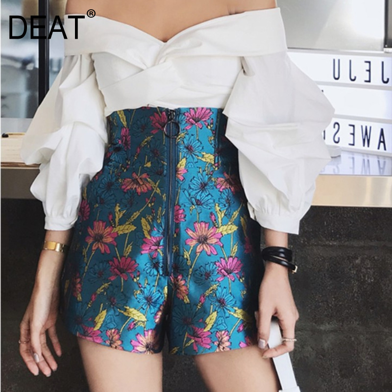DEAT 2020 New Summer Shorts Women High Waist Flare Styles Long Zippers Metal Heard Printed Fashion Quality Shot Hots WL
