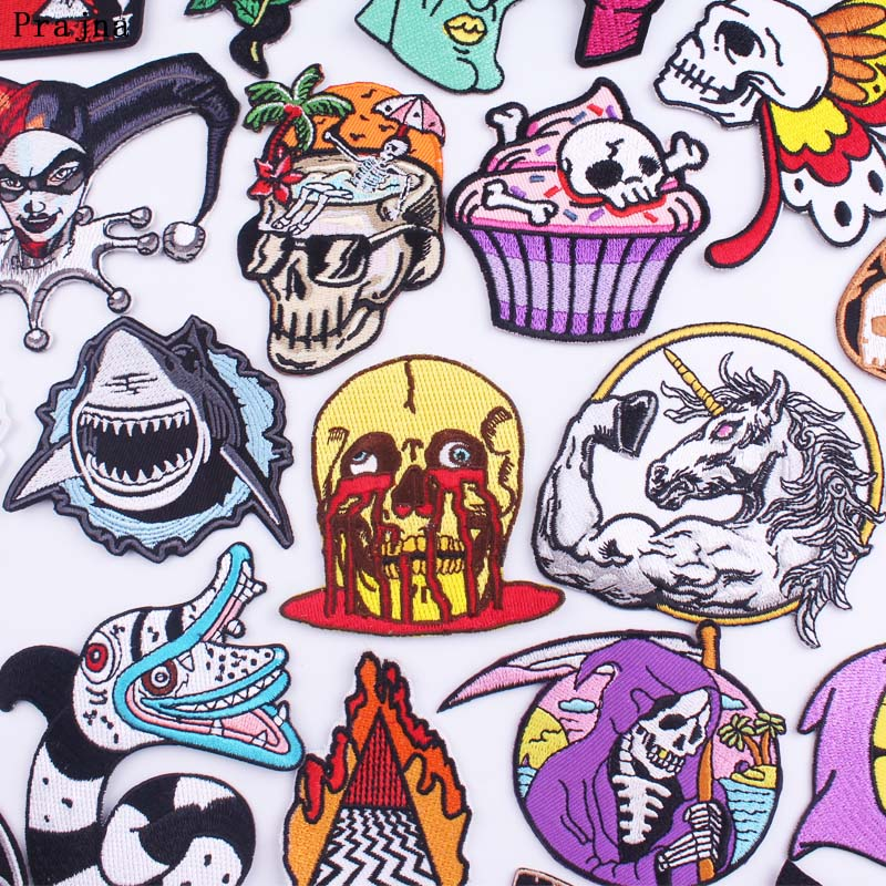 Prajna Punk Skull Patches on Clothes Anime Embroidered Patches For Clothing Skull Butterfly Patch Iron On Patches DIY Applique