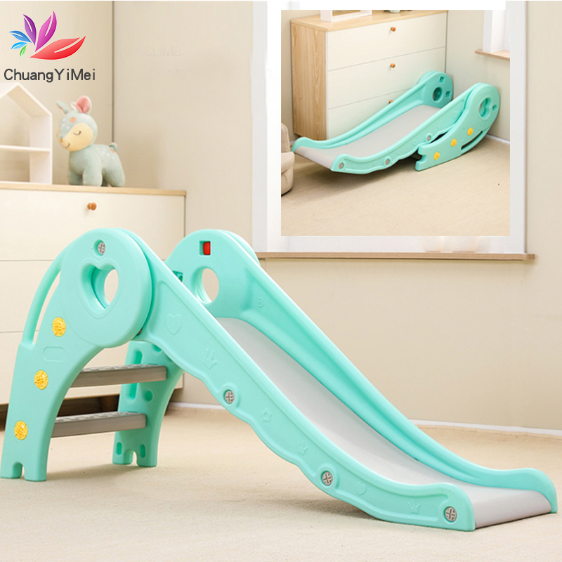 Baby Slide Foldable Indoor Outdoor Thicken Toy Slide Kindergarden Playground Home Game Children's Slide with basketball frame(China)