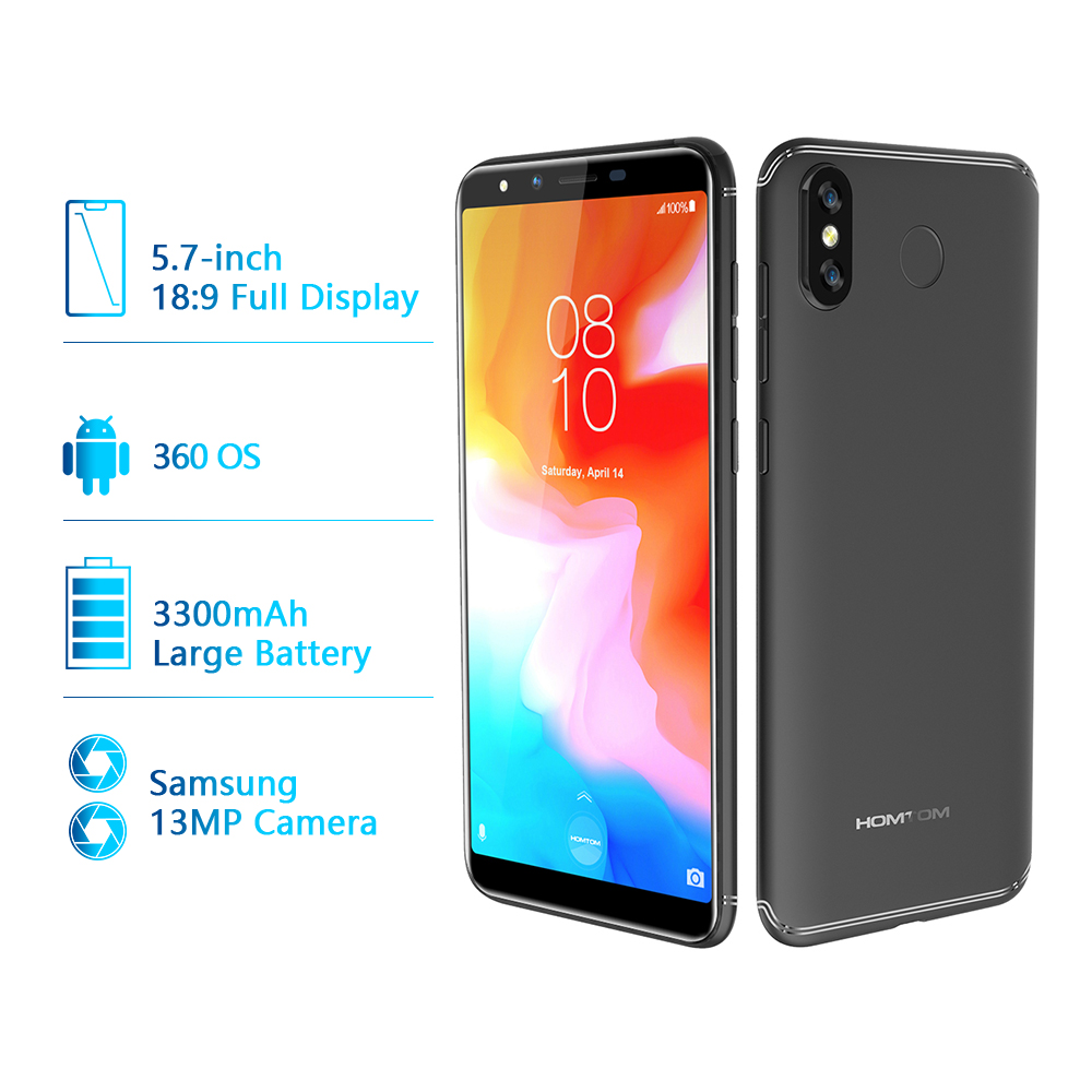 Global version HOMTOM H5 360 OS Android8.1Mobile Phone 3GB+32GB 3300mAh 5.7 Face ID 13MP MT6739 Quad Core 4G FDD LTE Smartphone - 2