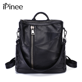 iPinee 100% Genuine Leather Daily Casual Backpack For Women Classic Black Students Schoolbag Vintage Lady Knapsack High Quality