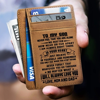 Mom and Dad (Parents) to Son DROP SHIPPING Card Holder Photo Pocket Engraved Leather Card Holder Wallets Birthday Gifts KB