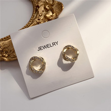 2020 New Korean Vintage Earrings For Women Geometric Round Earrings With Rhinestone Simple Gold Earrings Fashion Jewelry 2020 new korean vintage earrings for women geometric triangle earrings simple gold girl earrings fashion jewelry