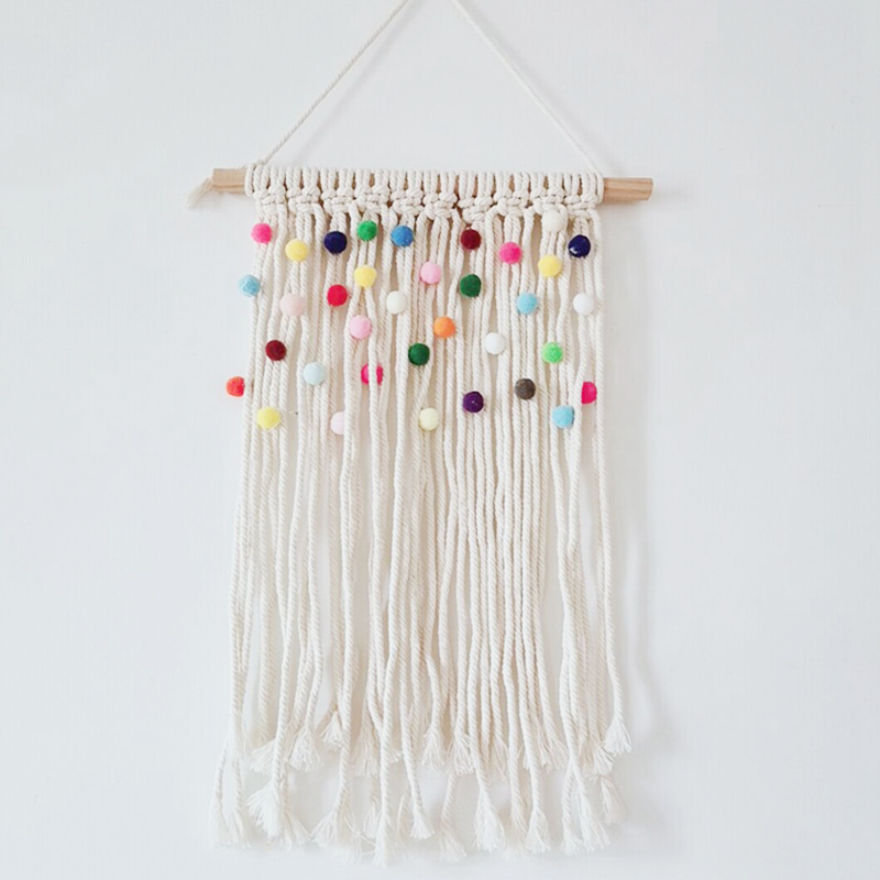 Colorful Macrame Tapestry Holiday Wall Nursery Decor Kids Room Hanging Decoration Bohemian Tapestries Backdrop Handmde Wall Art
