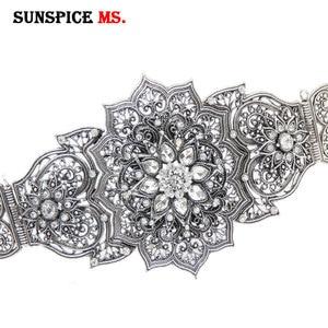 Image 5 - Sunspicemsレトロシルバー色をコーカサスベルト女性のラインストーン金属ウエストリンクチェーン調整可能な長さのウェディングジュエリー