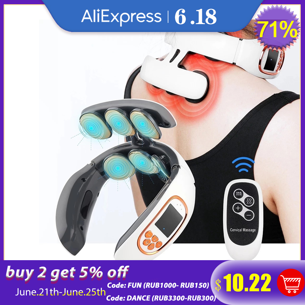 6 Heads Smart Electric Neck and Back Pulse Massager TENS Wireless Heat Cervical Vertebra Relax Pain Kneading Massage Machine