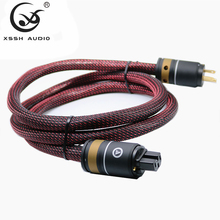 YIVO HI END XSSH audio Hifi amplifier OFC Pure Copper Plated Gold US Euro EU IEC AC Female Male Power Plug Power Cable Cord Wire