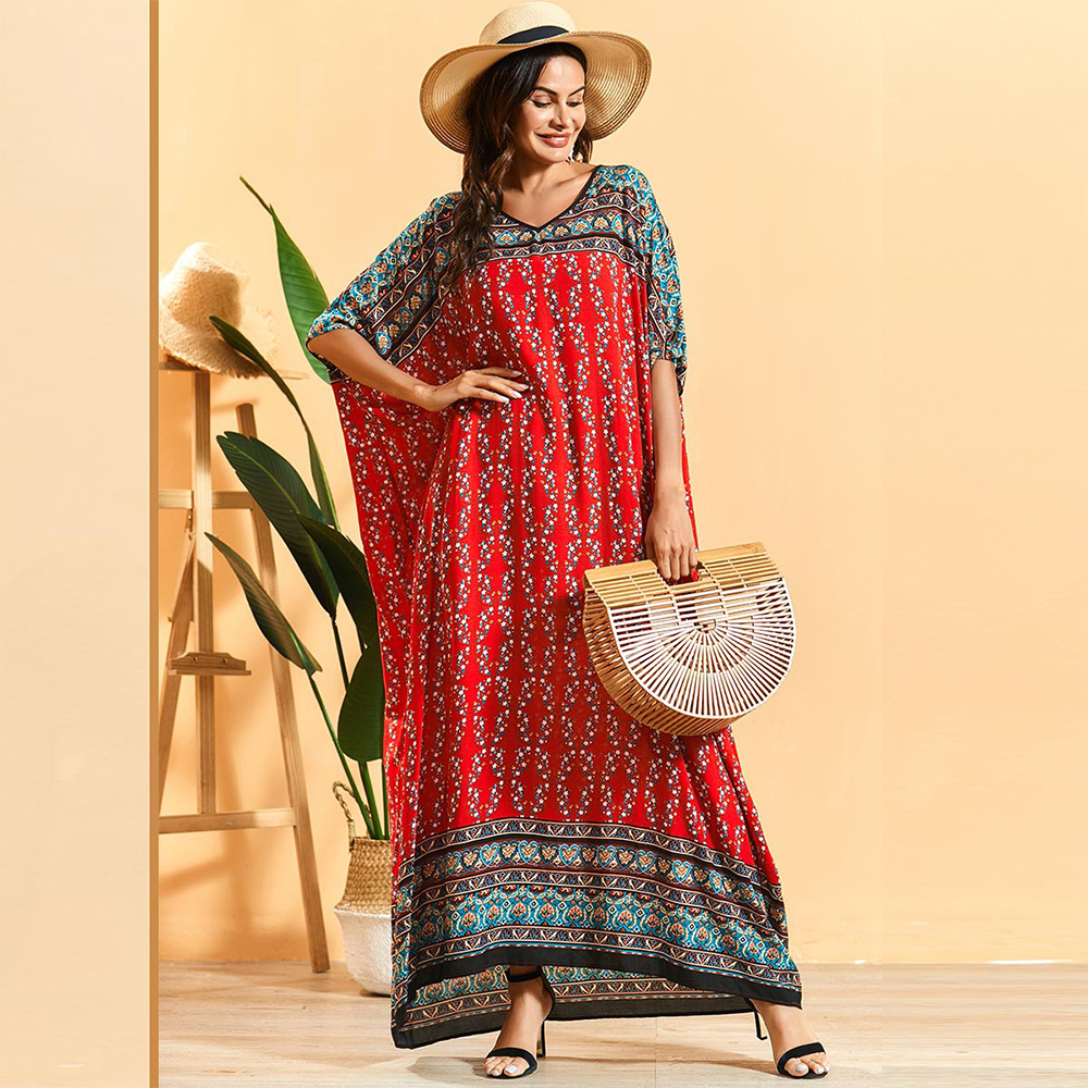 Siskakia Oversize Dress Women Fashion Floral Patchwork Batwing Sleeve Maxi Dressing Gowns Plus Size Casual Ethnic Clothing 2020