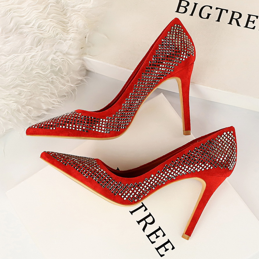 New Woman Concise Office Shoes Fashion Pointed Toe Women Pumps Solid Flock Shallow High Heels Women's Party Shoes Suede sequins