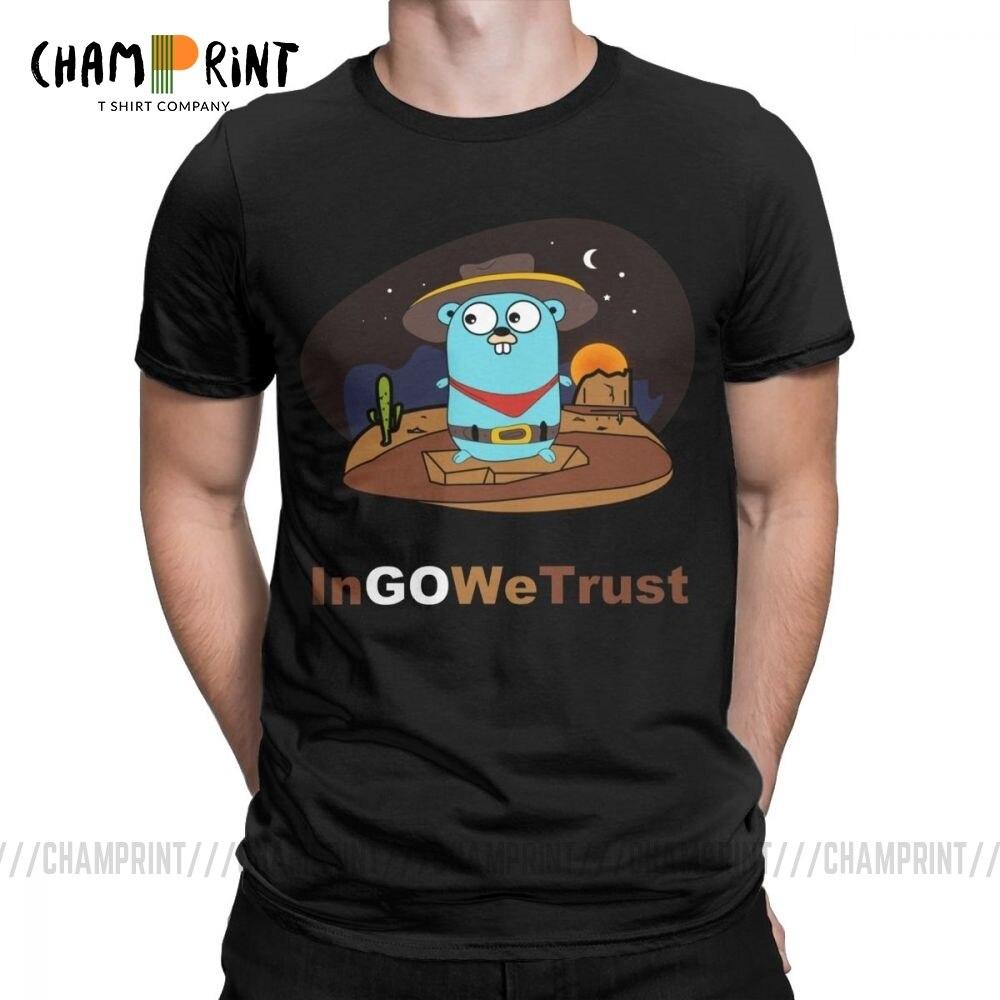 Golang Men T Shirt Gopher In Go We Trust Programmer Programming Tee Shirt Coder Coding Clothes Developer Funny T-Shirt