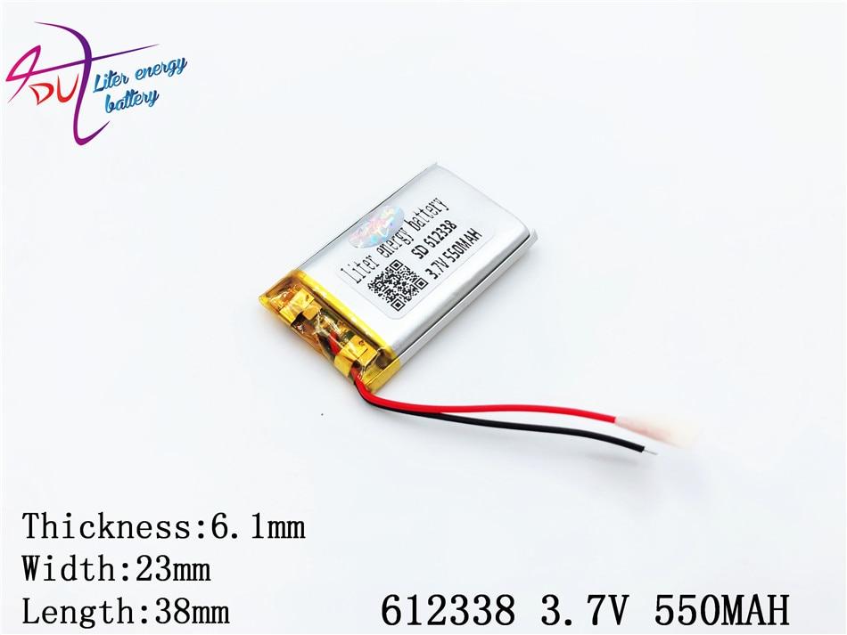 3.7v Lithium polymère batterie 062338 612338 550mah Mp3 Mp4 Gps Bluetooth 6.1*23*38mm Lithium batterie petit stéréo Bluetooth Gps