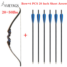New Archery Recurve Bow 20-50 lbs 56 inch Bow With Arrow Rest And 6 pcs Short Arrow Outdoor  Practice Hunting Shooting стоимость