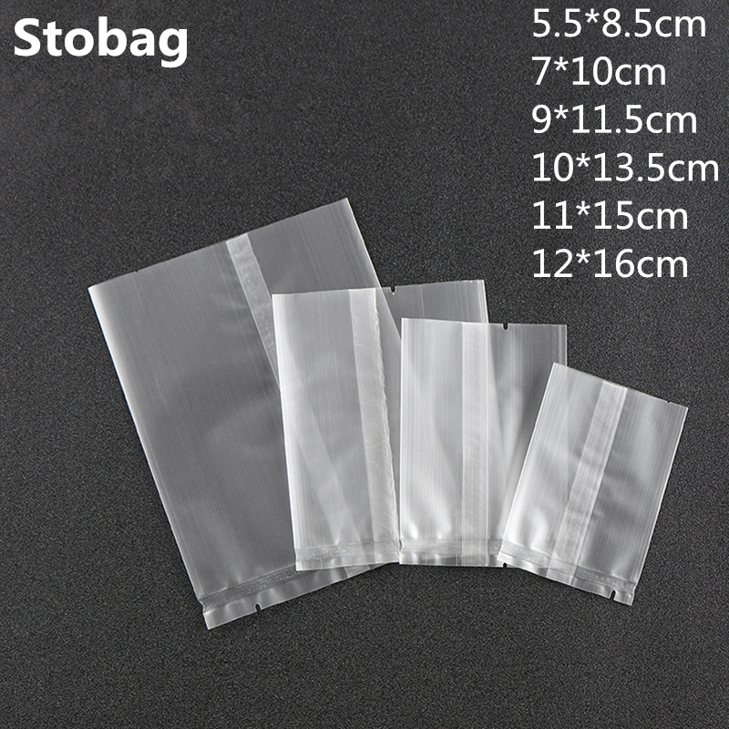 100Pcs Thicker Machine Seal Bags Clear Frosted Food Biscuit DIY Baking Cake Bag Decoration Gift Cookie Packing Flat Plastic Bag