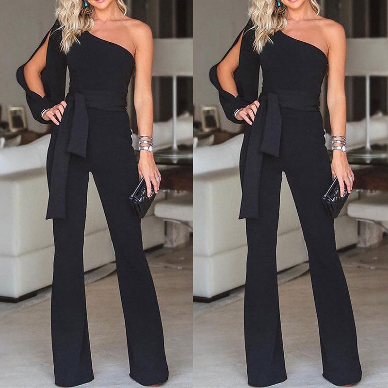 Jumpsuits For Women 2019 Arrival Womens Rompers Party Clubwear Playsuit Jumpsuit Wide Leg One Shoulder Long Trousers Pants