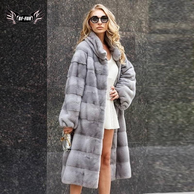 110cm Long Luxury Real Mink Fur Coat For Women Russian Winter Overcoat High Quality Gneuine Mink Fur Jacket Woman Plus Size Coat