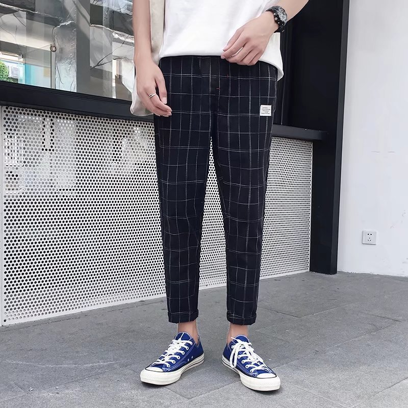 2018 Summer New Style Men Casual Capri Plaid Skinny Pants Slim-Fit Teenager Students Hong Kong Style Harem Pants