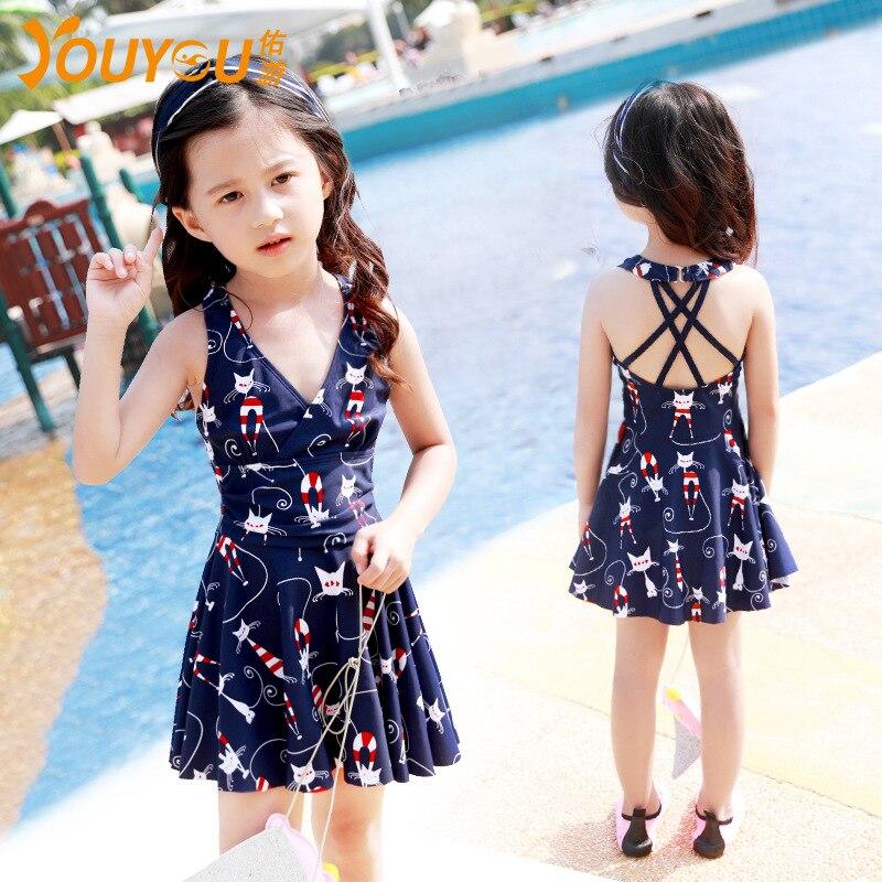 Youyou KID'S Swimwear GIRL'S Baby Big Boy Little Princess Sun-resistant Dress-South Korea Hot Springs Bathing Suit Girls