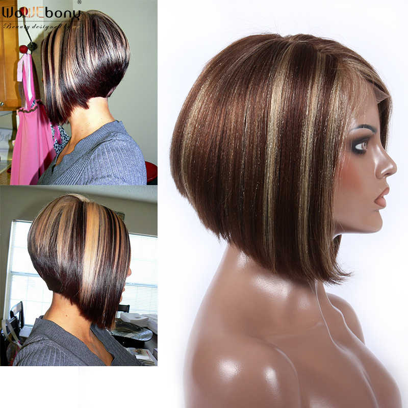 T4 25 Ombre Colored Lace Front Human Hair Wigs Straight Short Bob 13x4 Lace Front Wig 150 180 Density Pre Plucked Brazilian Remy