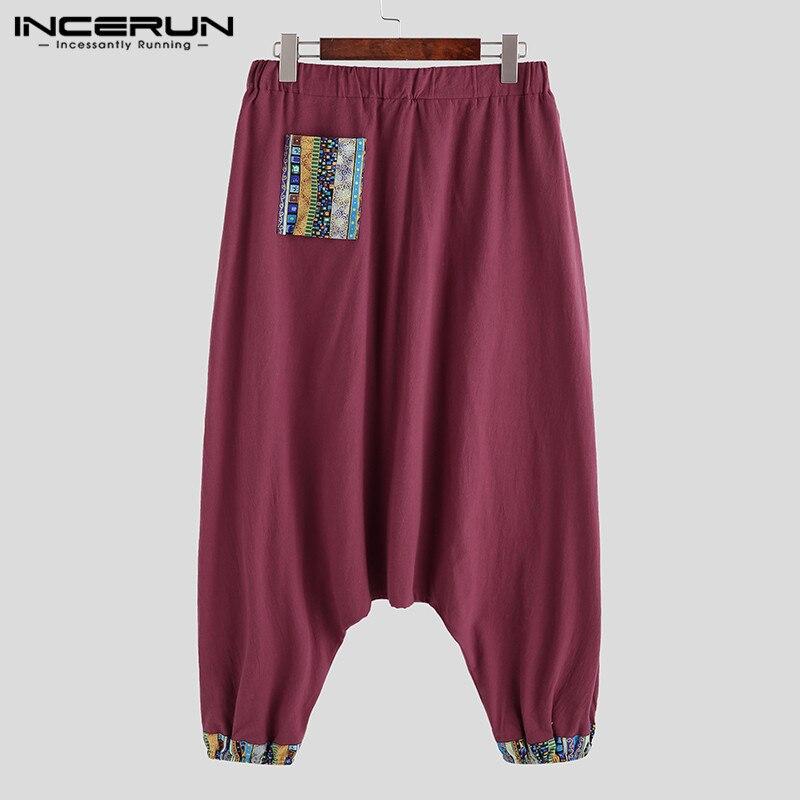 UUYUK Men Plus Size Cropped Pants Print Beach Ethnic Harem Swim Trunk