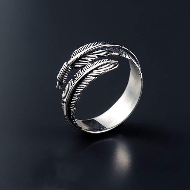 Real 925 Sterling Silver Feather Rings For Women Wedding Ring Anillos Mujer De Plata 925 Sterling Silver Jewelry