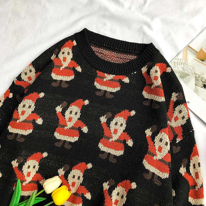 Jepang Korea Pria Sweater Natal Lengan Panjang Bottoming Sweater Longgar Malas Angin Tampan Santa Claus Bordir Sweater