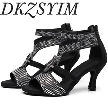 DKZSYIM Ladies party dance shoes satin black shiny rhinestone soft bottom Latin dance shoes ladies salsa dance shoes heels 6-10 free shipping suphini customized salsa dance shoes special lady ballroom latin dance shoes