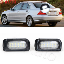 2 pçs/set led luz da placa de licença lâmpada sem erro canbus para benz mercedes c-classe w203 4 porta 2001-2007 carro-estilo