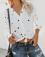 women blouse fashion 2020  female ladies clothing womens v-neck polka dot long sleeve top sexy shirt top 90s