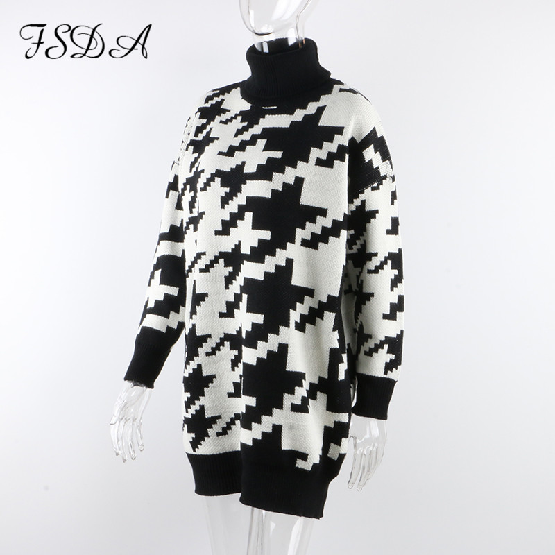 FSDA Long Sleeve Autumn Winter Oversized Sweater Dress Women Turtleneck Black Casual Knit Mini Houndstooth Sexy Party Dresses 6