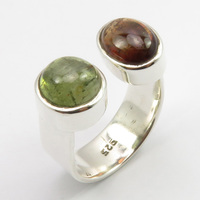 Wedding Engagement Jewelry Tourmaline Ring Size 6 Pure Silver