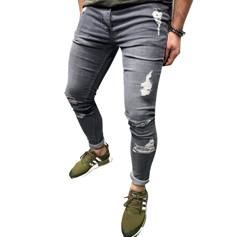 Gray Jeans Mens Skinny Stretch Denim Pants Distressed Ripped Freyed Slim Fit Jeans Trousers Cotton Cow Pants Street Clothing