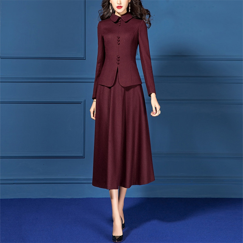 Vintage Autumn Winter Women's Dress Suits Set Wool Slim Blazer Jacket Woolen 2 Two Piece Office Lady Clothes Burgundy Outfits