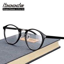 Iboode ultraligero miopía óptico montura de gafas Retro ronda gafas graduadas para miopía la presbicia-1,0 1,5 2 2,5 3 3,5 4 4,5 5 5,5 6