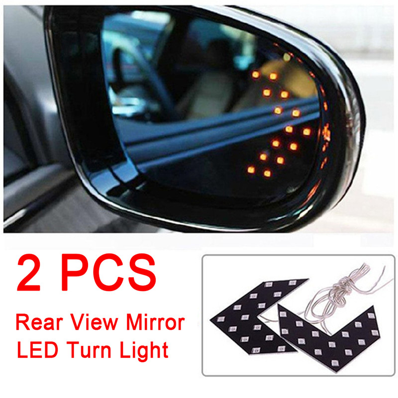 2PCS Car Rearview Mirror Turn Signal Light 14SMD LED Arrow Indicator Rearview Mirror Exterior Lamp Car Accessories