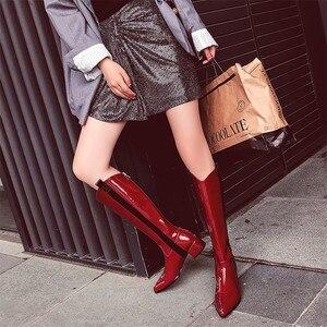 Image 5 - Fedonas 따뜻한 롱 부츠 나이트 클럽 신발 여성 2020 가을 겨울 암소 특허 가죽 여성 니 하이 부츠 지퍼 하이힐
