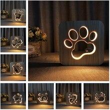 Acecorner LED USB Night Lightไม้สุนัขPawแมวหัวหมาป่าสัตว์โคมไฟNoveltyเด็กห้องนอน3Dตกแต่งตารางของขวัญเด็ก