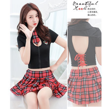 Adult student uniform temptation clothing plaid skirt sexy school uniform set woman erotic role playing uniformes estudiantes(China)